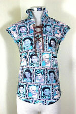 Vintage Gaultier Jean's Asian Faces Blue Printed Top Shirt Blouse Small 2 3 4