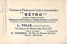 """PARIS CARTE DE VISITE TOLLE INVENTEUR-CONSTRUCTEUR PHARES DE MARQUE """" RETRO """""""