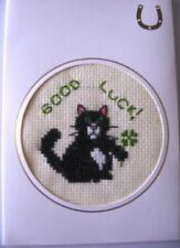 Good Luck Completed Cross Stitch Card Black Cat & Shamrock 6x4""