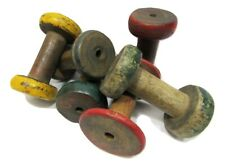 "Lot of 6 Antique Vintage 3"" Painted Wooden Industrial Textile Bobbins Spools"
