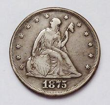 KEY DATE!!  1875-P U.S. TWENTY / 20 CENT PIECE ~ VERY FINE CONDITION - ABRASIONS