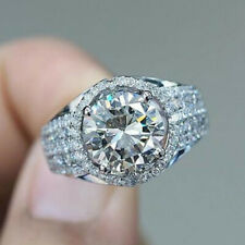 Round Cut White Sapphire Size 7 Elegant Women 925 Silver Rings Wedding Rings