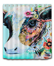 Hand Painted Colorful Flowers Cow Shower Curtain Liner & Hooks Bathroom Decor