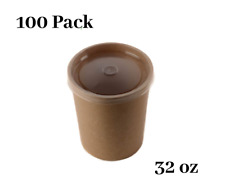 100 Pack 32 oz Disposable Kraft Paper Soup Containers with Plastic LIDS
