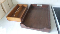 2 X VINTAGE WOODEN TRAYS / DRAWER-  CUTLERY & OFFICE PAPER - MOTOR UNDERWRITING