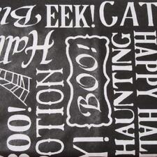 52x70 Oblong~Vinyl Tablecloth~Flannel Back~Halloween~Words~Pumpkins~Spiders~NEW