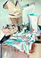 """Modern Original Still Life Acrylic Painting on Paper Double Sided Green Pink 30"""""""