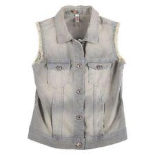 Xhilaration Girls' Denim Striped Vest Faded Sleeveless Jacket Sz L, 10/12 NWT