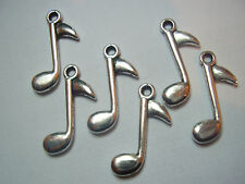 10 METAL TIBETAN STYLE SILVERTONE TREBLE CLEF MUSIC NOTE CHARMS - PENDANTS