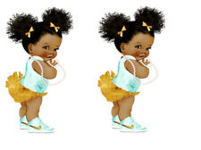 Afro Puff Baby Edible Cake Topper A5 x 2 images WAFER PAPER