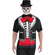 Day of the Dead Men's Printed T-Shirt XL Halloween Costume Fancy Dress