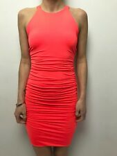 KOOKAI hot neon pink body con singlet dress ruched mini  sz 1 sleeveless stretch