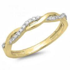 Anniversary Band Ring 14K Yellow Gold Over 1 Ct Round Cut Diamond Womens Wedding