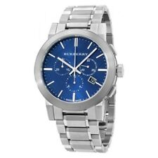 100% New Burberry BU9363  Chronograph Blue Dial Stainless Steel Men's Watch 42mm