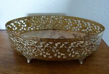 Vintage Oval Vanity Tray with Feet & Edge Floral Trim Hollywood Regency