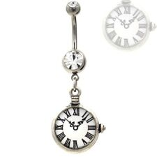 "COOL CLOCK DANGLING STOPWATCH BELLY RING NAVEL PIERCING JEWELRY (14g 3/8"")"