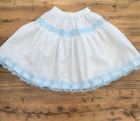 White/Blue Lace Petticoat Skirt Adult - Made to Measure - Choose Waist + Length