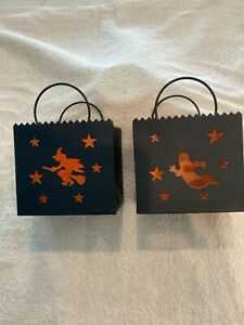2 Metal Halloween Witch & Ghost Luminary Votive Candle Holders (Black & Orange)