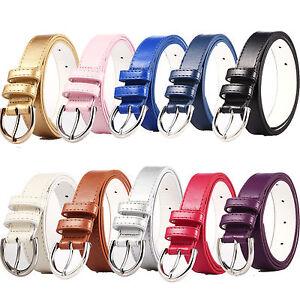 "Ladies Chrome Buckle Belt 1"" Faux Leather Vegan Friendly Womens Fashion Belts"