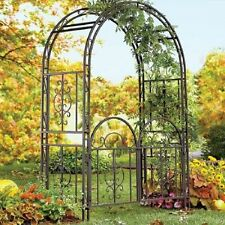 Outdoor Trellis With Gate Garden Metal Arch Arbor Wrought Iron Bronze  Backyard