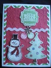 Handmade Christmas Card Using Stampin Up Sizzix Snowman Holly Jolly Christmas