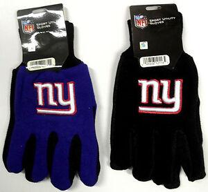 NWT NFL NEW York Giants No Slip Gripper Utility Work Gloves W/ 3D Team Logo NEW