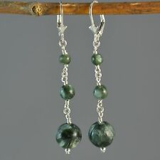 Sterling Silver Natural Green Seraphinite Long Dangle Earrings