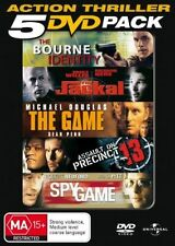 BOURNE IDENTITY, JACKAL, THE GAME, ASSAULT ON PRECINCT 13, SPY GAME 5DVD NEW