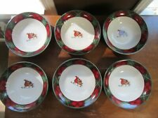 "6 - Block / Gear Father Christmas China Santa Tartan Plaid Soup Bowls 7 1/4"""