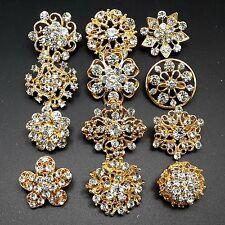 Lot12 Mini Mixed Gold Rhinestone Crystal Brooches Pins DIY Wedding Bouquet Decor