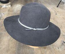 b93d1c1dca5da7 New RAG & BONE Charcoal Grey Wool felt floppy brim fedora hat, Size Medium