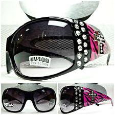 STYLISH WESTERN COWGIRL Black SUNGLASSES SHADES Hot Pink Zebra Rhinestone Cross
