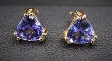 14k Yellow Gold Trillion Cut 0.75 ct Tanzanite Stud Earrings Free Shipping EG630