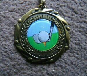GOLF medal & ribbon trophy MALE OR FEMALE golfing award trophies