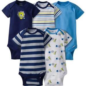 Gerber 5-Pack Baby and Infant Boys Jungle Onesies Brand Short Sleeve Bodysuits