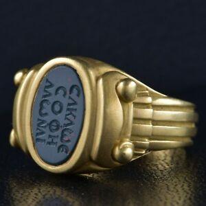 KIESELSTEN CORD 18k Yellow Gold Vintage Intaglio Since Year 1984 Ring 14.41Gr.