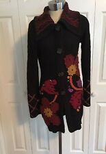 Michael Simon Long Black Embroidered Sweater Coat Size S