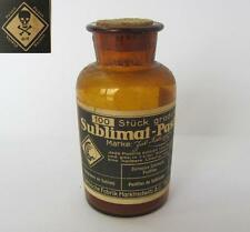 19C. ANTIQUE MEDICAL APOTHECARY PHARMACY AMBER GLASS BOTTLE w/LABEL POISON