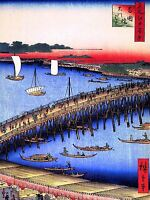 ART PRINT POSTER PAINTING JAPANESE WOODBLOCK BRIDGE OVER HARBOUR NOFL0775
