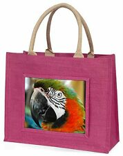 Face of a Macaw Parrot Large Pink Shopping Bag Christmas Present Ide, AB-PA75BLP
