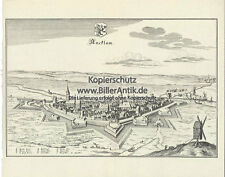 Ancklam Pommern Marienkirche Steintor Pulverturm Kupferstich Merian O 0394