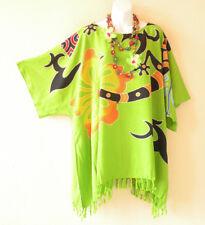 Green Batik Gecko Plus Floral Caftan Kaftan Tunic Blouse Top - 2X, 3X, 4X & 5X