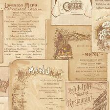 Vintage Cafe Menu in Multiple Shades of Beige & Brown Wallpaper FK26954