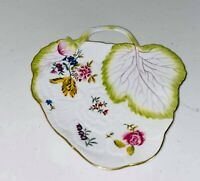 Vintage Chelsea House Handled Dish Gold Trim Leaf Shaped Hand Painted Plate