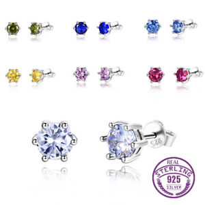 925 Silver Round Ruby&Peridot Multi-Color Gemstone Birthstone Ear Studs Earrings
