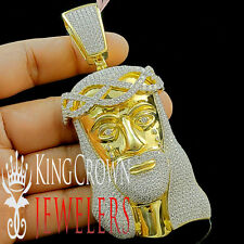 Yellow Gold Silver XL Jesus Face Custom Piece Pendant Charm Lab Diamond 4.25''