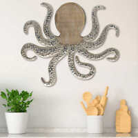 "Octopus Wall Decor Hanging Coastal Nautical Beach Weathered Wood Silver 22""x19"""