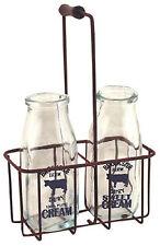 Vintage Milk Bottles Clear Glass Rusty Carrier Decoration Cream Milkman Antique
