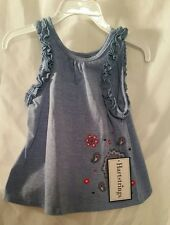Girls Denim Blue Tank top 2 T Childrens New Kids Clothes NWT Flared Red Smock