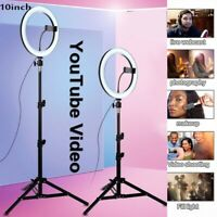 "10"" LED Ring Light Dimmable Lighting Kit Phone Selfie Tripod Makeup Live Lamp UK"